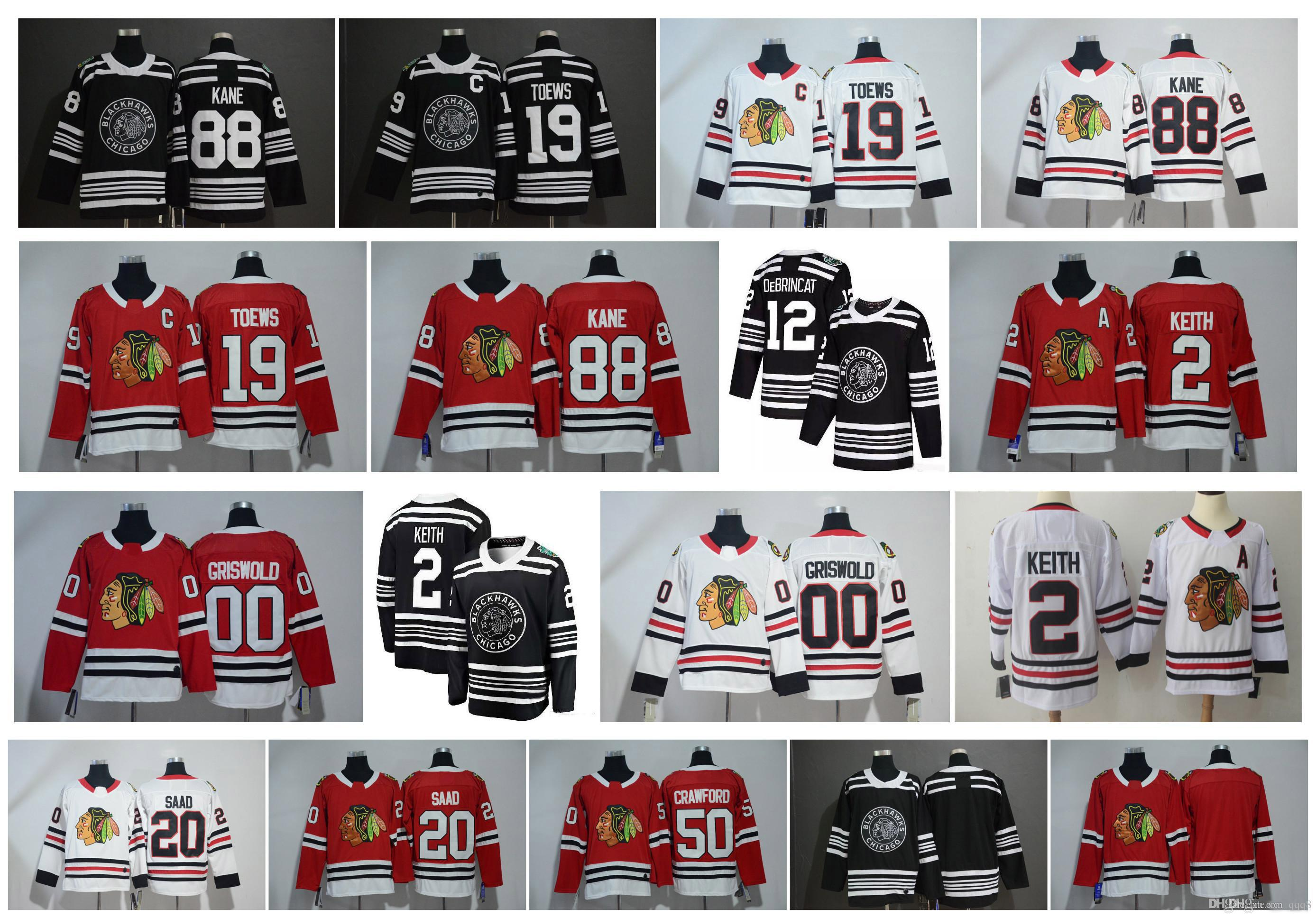 NHL Chicago Blackhawks Jersey Jonathan Toews Patrick Kane Corey Crawford Duncan Keith Clark Griswold Brandon Saad Hóquei 2019 Inverno Clássico