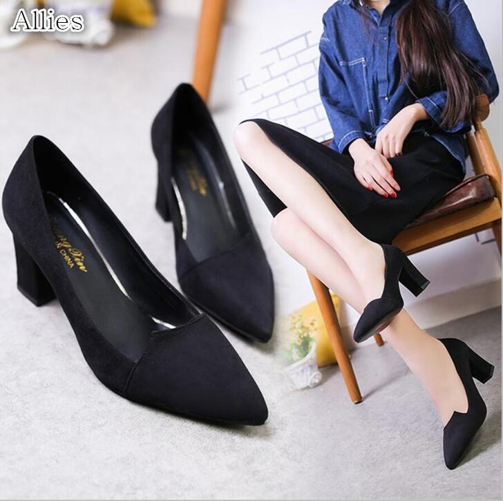 Designer Dress Shoes Allies 2019 spring new thick high heel small size black suede single pointed head with wild women's free shipping