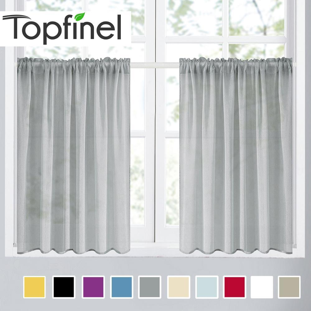 Topfinel Plain Voile Vorhang Gardinen für Wohnzimmer Schlafzimmer Küche  Dekorative Tür Vorhang Fenster Tüll Vorhänge kurz