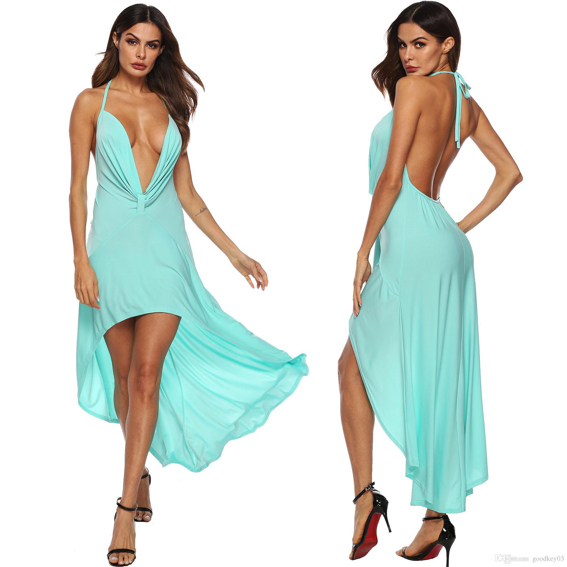 84375754c245 2019 Mode Sexy Kleid Frauen Solide Halter Tiefem V-ausschnitt Backless  Asymmetrische Strand Langes Kleid Vestidos Dropshipping