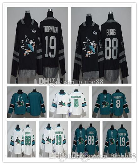 buy online 02e73 65fb5 2019 Mens San Jose Sharks Jersey Hockey 8 Joe Pavelski 19 Joe Thornton 88  Brent Burns AD Green Black white 100% embroidery Hockey Jerseys