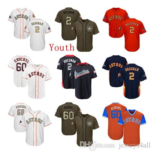 new product 61891 55184 Youth Kids Child Astros #2 Alex Bregman Baseball Jersey Navy Blue White  Orange Grey Gray Gold Green Salute Players Weekend All Star