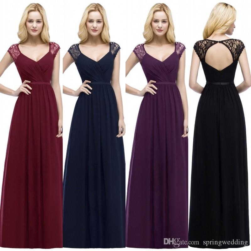 9b46a2371c3cdc Cap Sleeves Chiffon Long Bridesmaid Dresses Navy Blue 2019 Lace Ruched  Hollow Back Floor Length Wedding Guest Maid Of Honor Dresses CPS865 Alexia  Bridesmaid ...