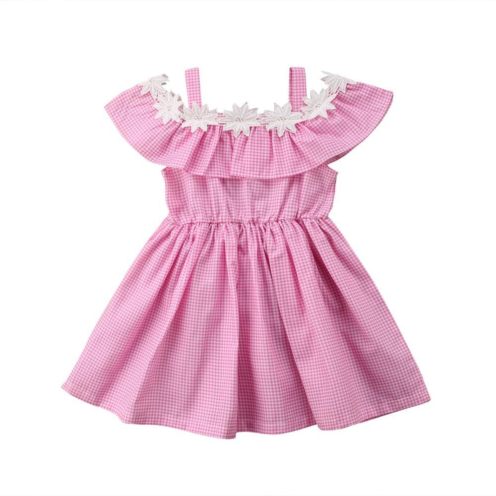 c06124a6b4efe Acheter Bébé Filles Robe Épaule Robe Sans Bretelles Pour Fille Bébé 4 5 6  Ans Anniversaire Enfants Coton Robes De Soirée Enfants Vêtements D'été De  $34.25 ...