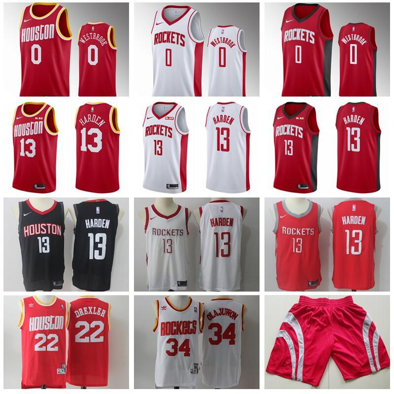 separation shoes c15ec 1c093 Houston Basketball Rockets James Harden Jersey 13 Russell Westbrook 0 Clyde  Drexler 22 Hakeem Olajuwon 34 Edition Earned City Classic Red