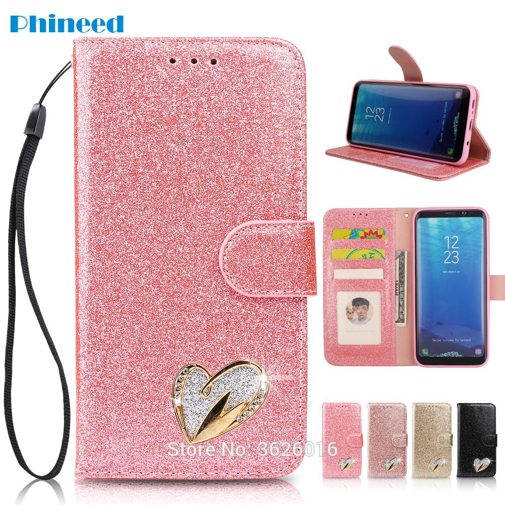 Coque Etui Cover Case for Samsung Galaxy A3 A5 J3 J5 J7 2017 S7 S8Plus S9Plus Edge Note 8 9 With Luxury Glitter PU Flip Wallet