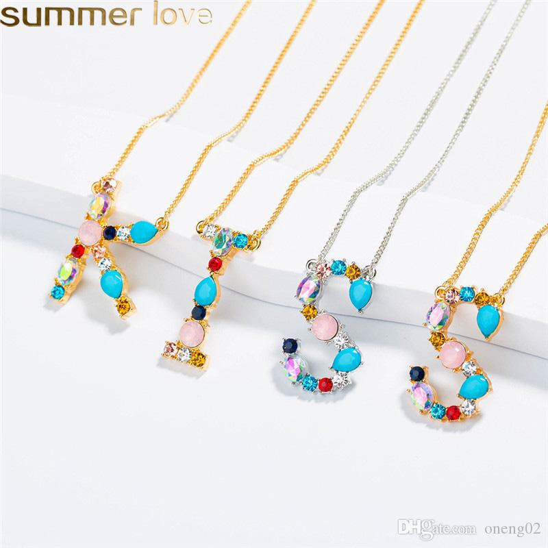 0c8dda862 Colorful 26 Letter Initial Necklace With Crystals Stone Pendant for Women  Personalized Mother's Day Jewelry Gifts