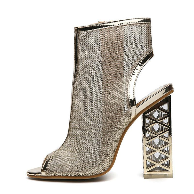 Sandals Sexy Shoes Clear Peep New Zip Toe Golden Bling Gladiator deoCxrB