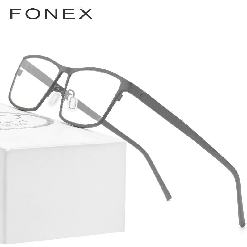f0501762c6738 FONEX Pure Titanium Glasses Frame Men 2019 New Prescription Eye ...