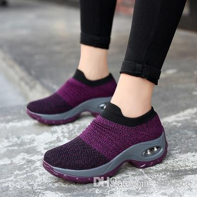 Women Sneakers Shoes Flat Slip on Platform Running Shoes Women Breathable Mesh Socks Sneakers For 2019 Spring&Autumn