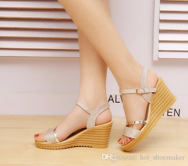 e0993a1a27 2018 Summer Gold Women Sandals Fashion High Heels Bling Buckle Gladiator  Sandals Platform Wedge Shoes Women #10066 High Heel Shoes Wholesale Shoes  From ...