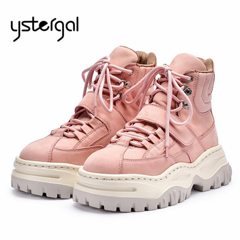 220b34e6eb6 Ystergal Pink Ankle Boots for Women Lace Up Platform Creepers Martin Boots  Flat Sneakers Rubber Shoes Woman Short Booties
