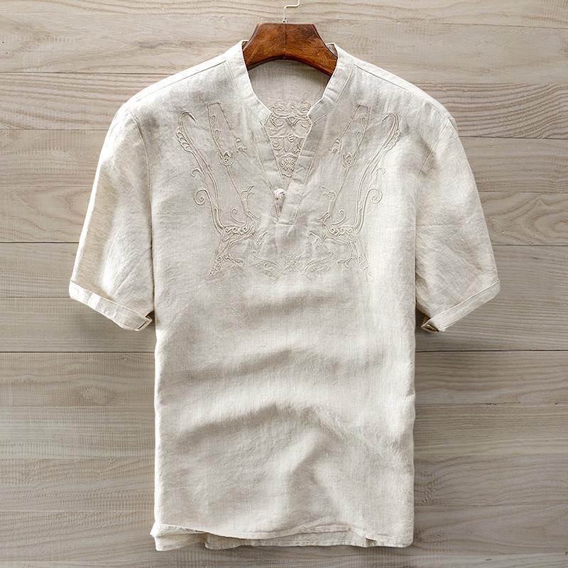 749b85a584e725 Camisa bordada de flores masculinas de moda homens de malha transparente  camisa de verão de manga curta