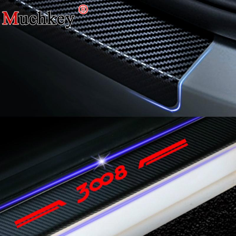 Car Door Plate Stickers Carbon Fiber Look Car Sticker For Peugeot