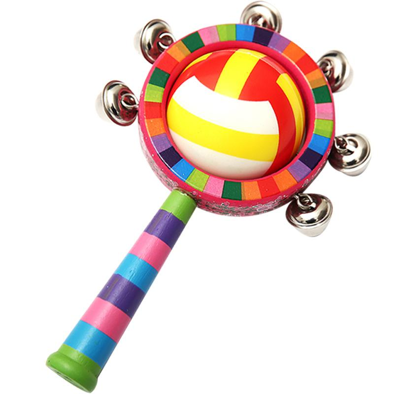 Random Style Round Ball Baby Wooden Maraca Hand Rattles Kids Musical Party Favor Child Baby Shaker Percussion Musical Instrument Toy 20cm