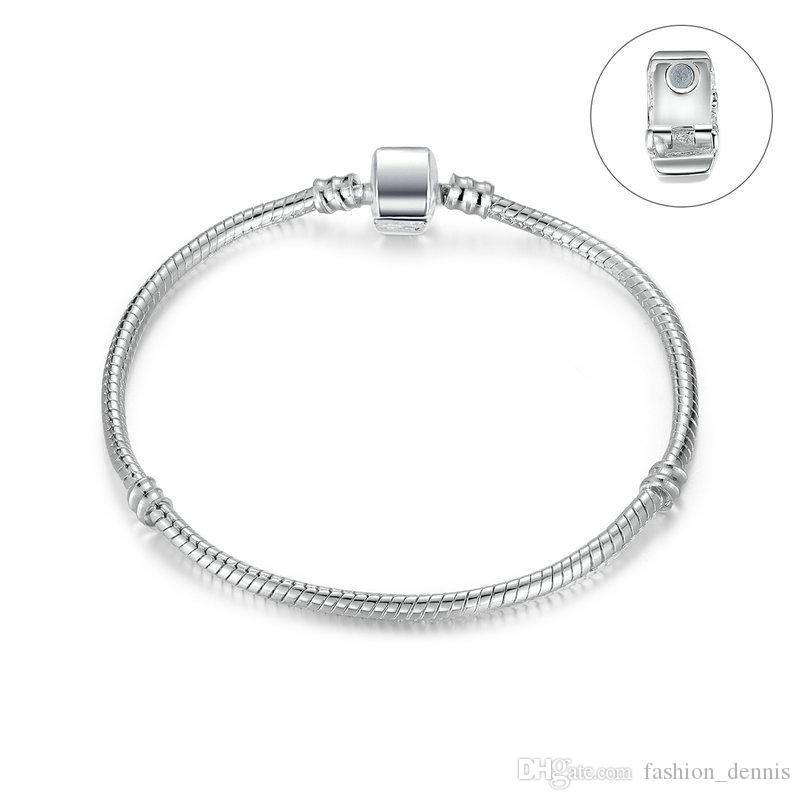 New Silver Plated Basic Snake Chains women & Men Magnetic clasp Bangle for Charm European Beads bracelet & Jewelry Making