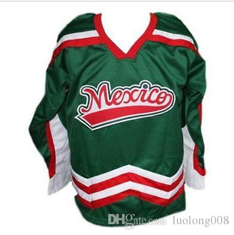 5e52af4c0 2019 Vintage Mexico Hockey Jersey Embroidery Stitched Customize Any Number  And Name Jerseys From Luolong008