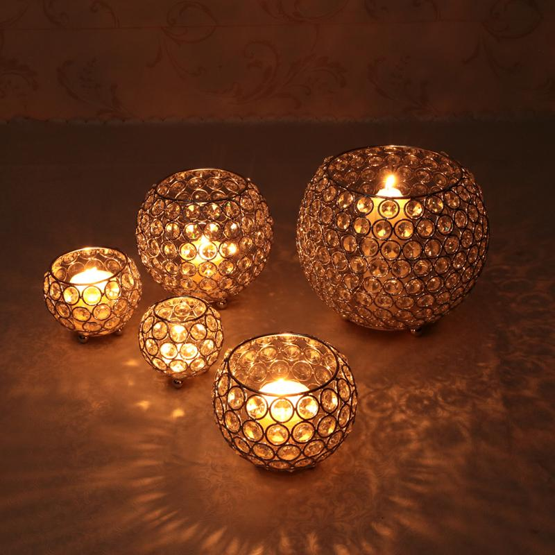 Crystal Tea Light Candle Holders for Wedding Table Centerpieces Dining Room Christmas Home Decorative Candle Lantern Silver Gold