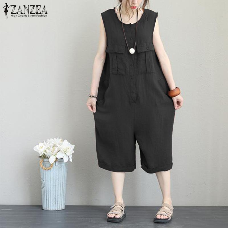 8752729647f 2019 Women S Cotton Linen Jumpsuits Pants 2019 Summer ZANZEA Vintage Wide  Leg Rompers Femme Sleeveless Playsuits Overalls Pantalon From Cutelove66