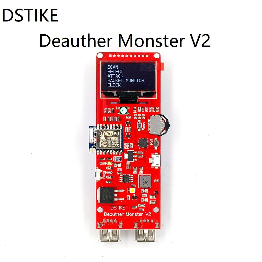 DSTIKE Deauther Monster V2 ESP8266 development board 18650 power bank 2 USB  port 5V 2 5A output WiFi Attack Hack arcylic case