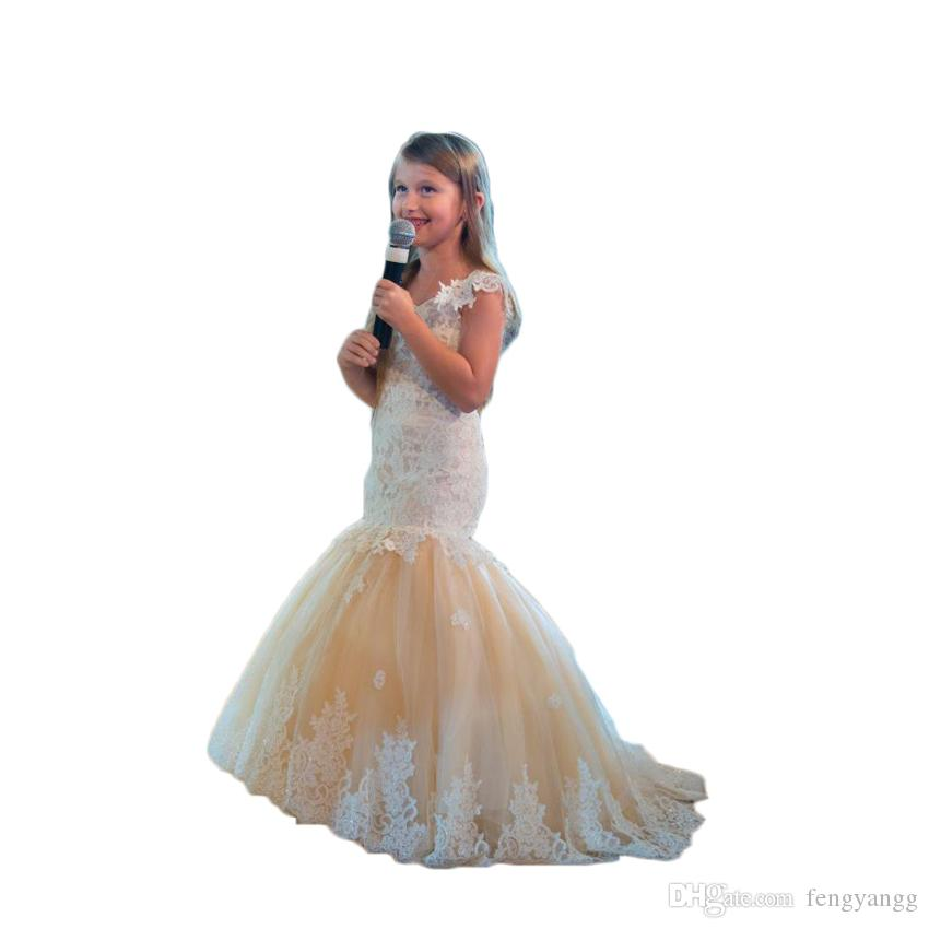 2550909187b9 Cute Mermaid Girls Pageant Gowns Lace Applique Sleeveless Cheap Flower  Girls Dresses Children Tulle V Neck Kids Teens Girls Birthday Dress Gowns  Designs ...
