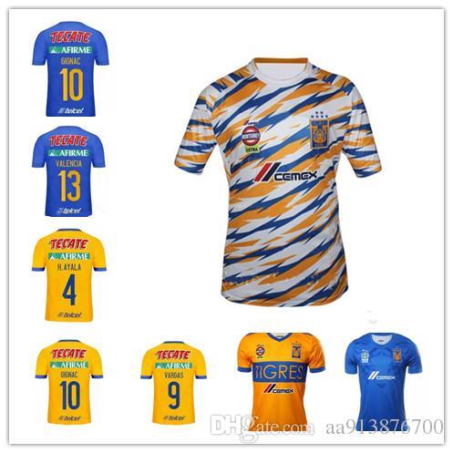 de6e3c1f3 AAA++2018 2019 Tigres UANL Soccer Jersey 18 19 Mexico Club Tigers Yellow 6  Stars GIGNAC Vargas H. Ayala SOSA Away Blue Jerseys Football Shir UK 2019  From ...