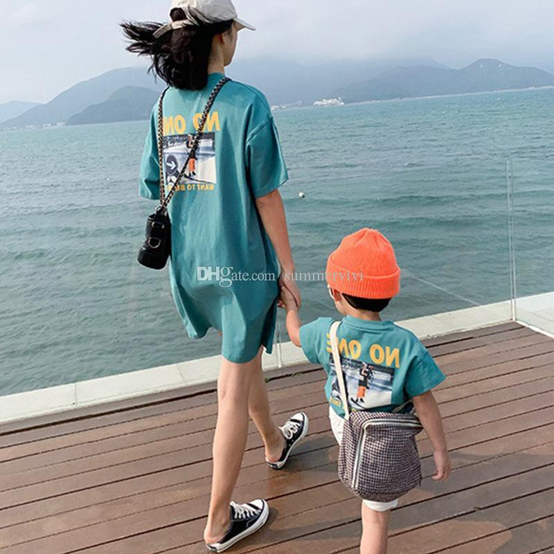 Mommy and daughter matching outfits kids letter character printed T-shirt girls short sleeve casual tops summer baby boy clothes F8293