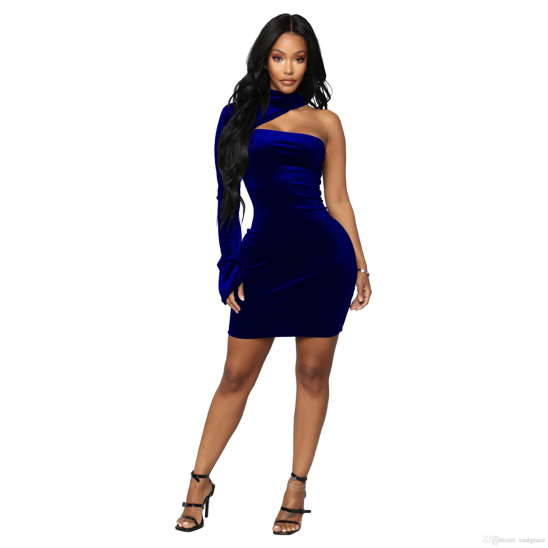 a960bf5b559 Bodycon Sheath Dresses One Shoulder Sleeve Party Sexy Dresses Women  Clothing Sexy Mini Tight Pencil Dresses With Teenage Dresses For Sale Long  Sleeve Casual ...