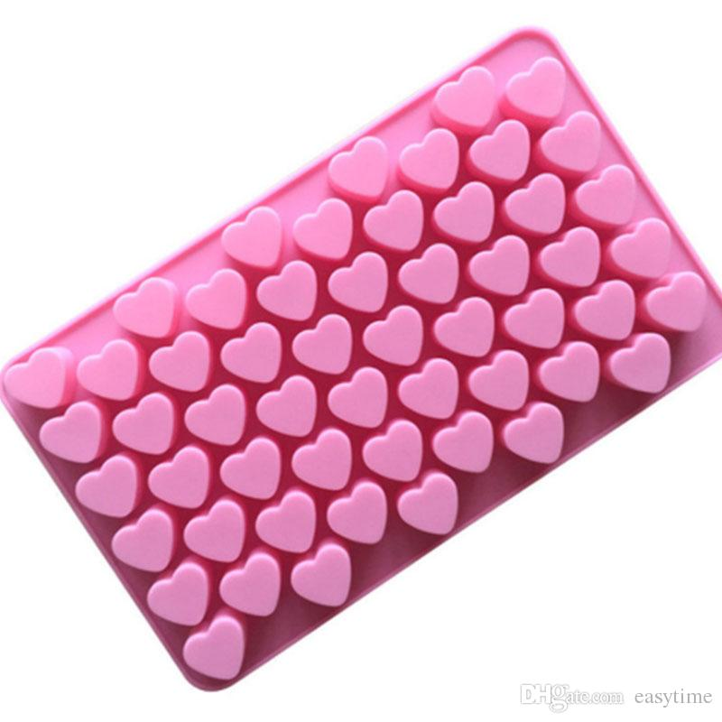 Easy release flex silicone heart mold 55 cavity bakeware mold for cake chocolate jelly pudding dessert gelatine candy molds