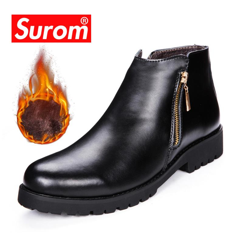 2e27f471bba SUROM Leather Work Men Boots Sole Non-slip High Top Casual Shoes Men Martin  Motorcyle Boots Fashion Zipper Male Shoes Breathable