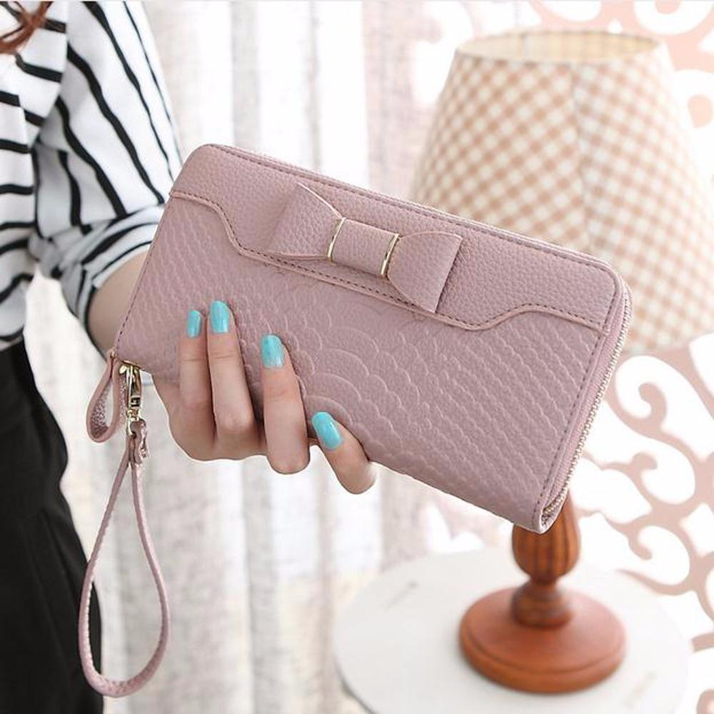169e5621d17 Hot Sale Women Lady Long Wallets Purse Female Candy Color Bow Pu Leather  Alligator Feminina For Coin Card Clutch Bow Bag 205 Hobo International  Wallet ...