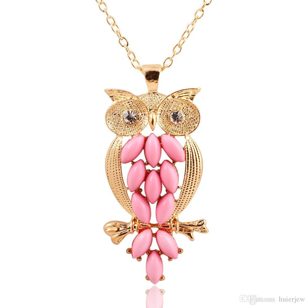 Pendant Necklaces for women Vintage Pink Gem owl chain Beautifully long necklace jewelry for women Ancient Retro Owl Sweater Chain Necklace