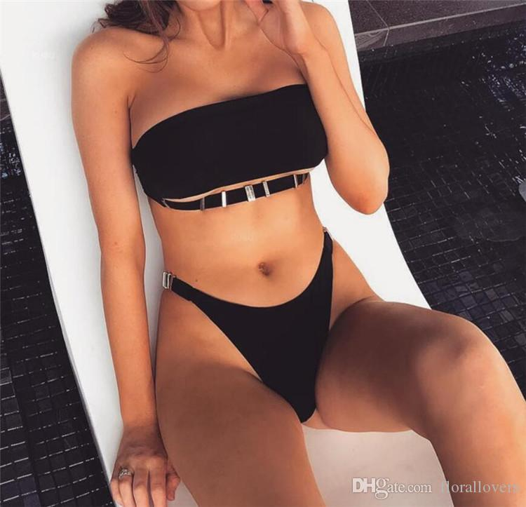 6e499065e18 Extreme Sexy Bikini For Mature Woman Suitable for All Chest Types Swimwear  Moveable Metal Buckle Swimsuits for Women White Black Red Extreme Sexy  Bikini For ...