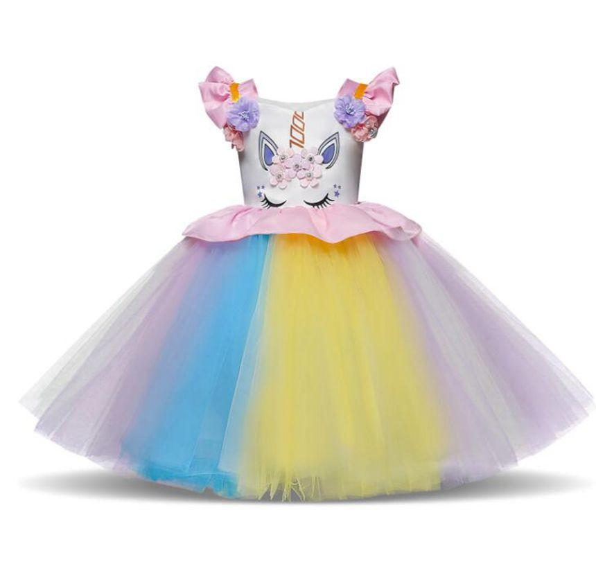 8329cf8653875 Girl Unicorn Dresses Princess Girls Cosplay Dress Up Costume Kids Party  Tutu Gown Clothing Children Flower unicorn Clothes KKA6426