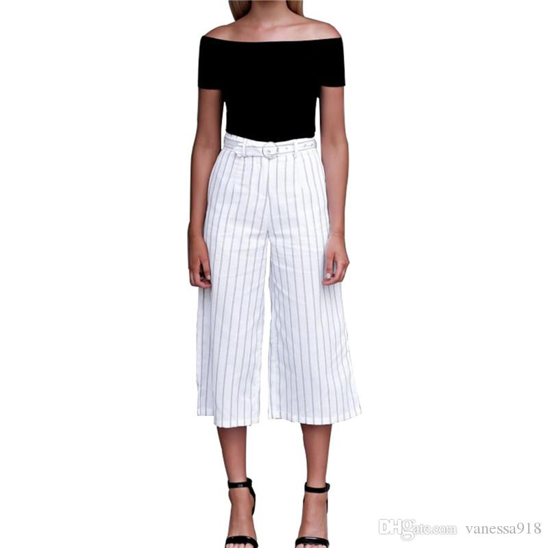 ff9123b150e50e Stripe Wide Leg Pants Loose Plaid Belt High Waist Palazzo Trousers ...