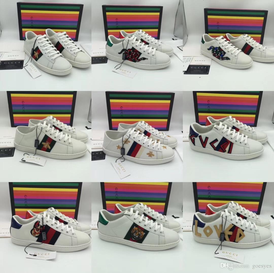 b2b528eb8 2019 Ace Embroidered Sneaker Mens Classic Bee Low Top Stripe Leather  Sneakers Womens Casual Trainers Designer Fashion 2019 Men Shoes From  Goesyes, ...