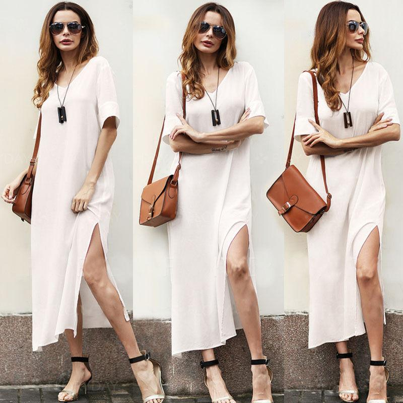 Womens Summer Maxi Dress White Evening Party Dresses Hippie Boho Beach  Loose Long Dress Plus Size S-2XL DH126