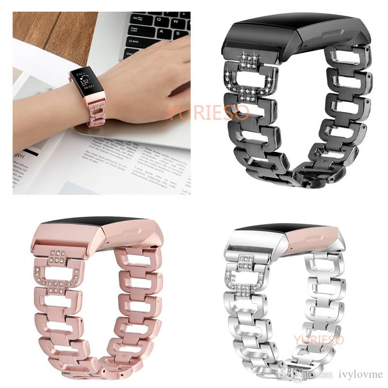 2019 New D Watch Bands for Fitbit Charge 3 Bands Stainless Steel Metal  Wrist Strap Women Jewelry Bracelet for Charge 3
