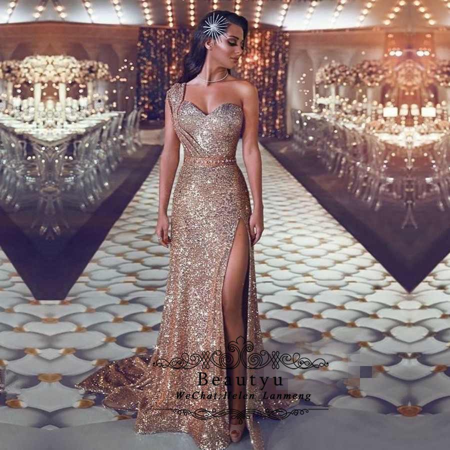 Glitter Rose Gold Sequined Prom Dresses Long Sexy Mermaid One Shoulder  Sweetheart Side Split Saudi Arabic Formal Evening Gowns 2019 Dubai Plus  Dresses Plus ... e9c215b7bff5
