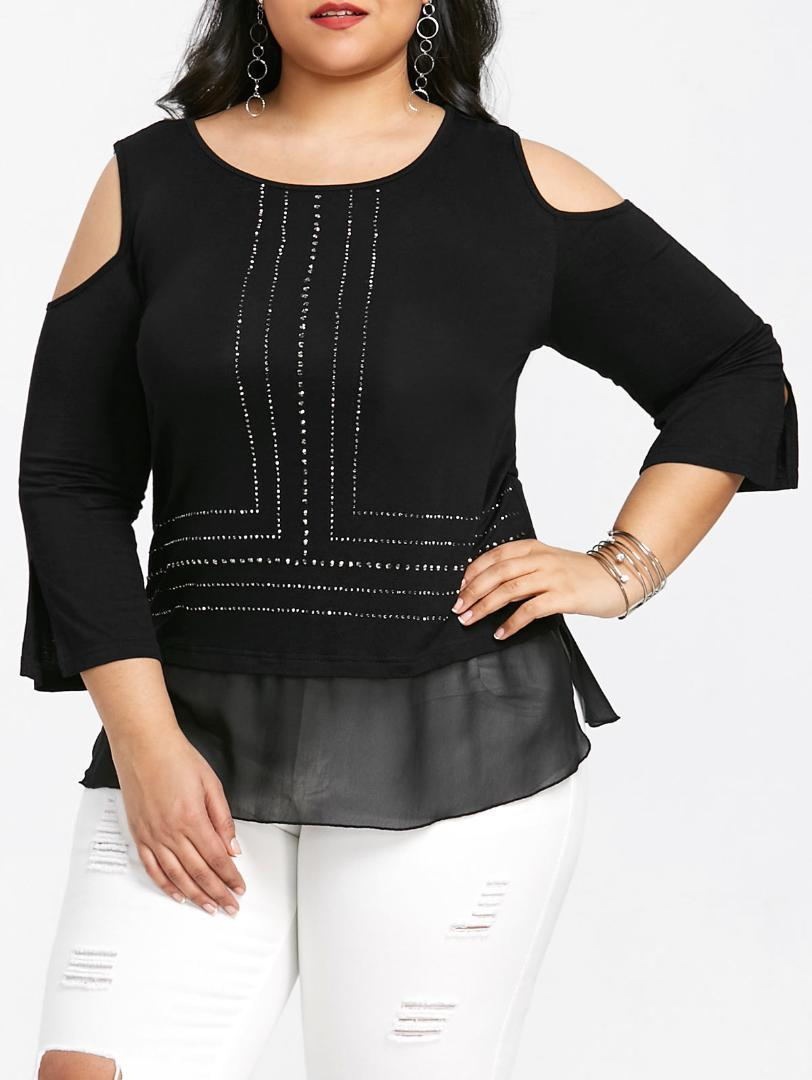 c7f7a9d82 Wipalo Women Plus Size 5XL Cold Shoulder Split Sleeve Glittery T Shirt  Three Quarter Sleeve Rhinestone Embellish Casual Tee Tops UK 2019 From  Aqueen, ...