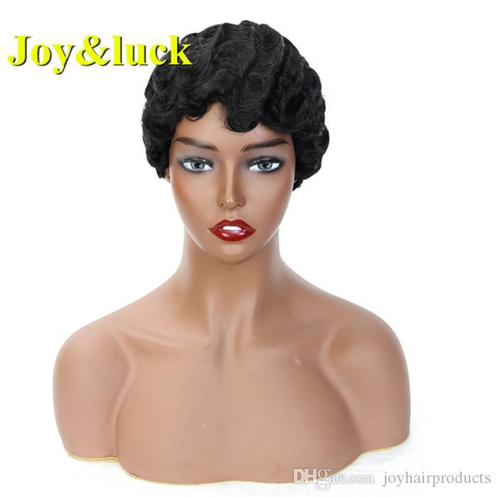 Короткие вьющиеся волосы парик Pixie Cut парики для афро-американских Finger Wave Synthetic Black Mix Brown парик волос Косплей