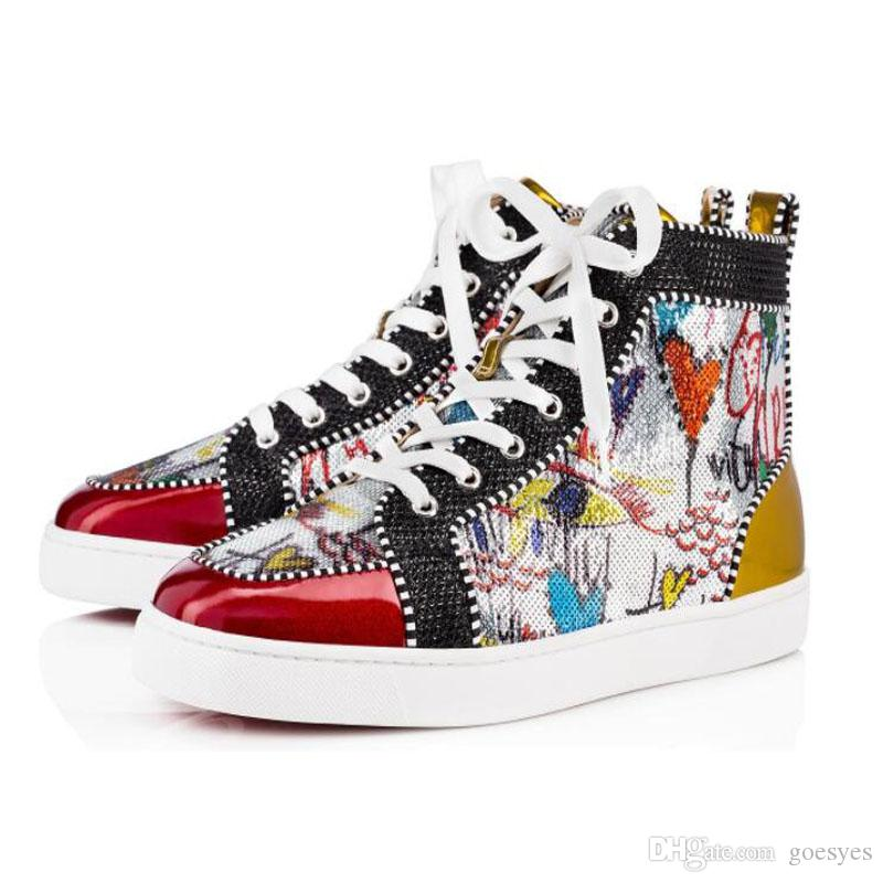 830ae58fcb2 2019 2019 Hot Sell Men Women Luxury Shoes Red Bottom Sneakers High Top Print  Silver Pik Pik No Limit RARE Studs Rhinestones Graffiti Brand Shoes From ...
