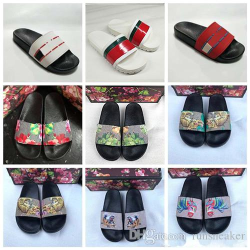 2019 Designer Rubber Sandals New Floral brocade Mens Fashion Slippers Red White Gear Bottoms Flip Flops Womens Slides Casual Flats slipper