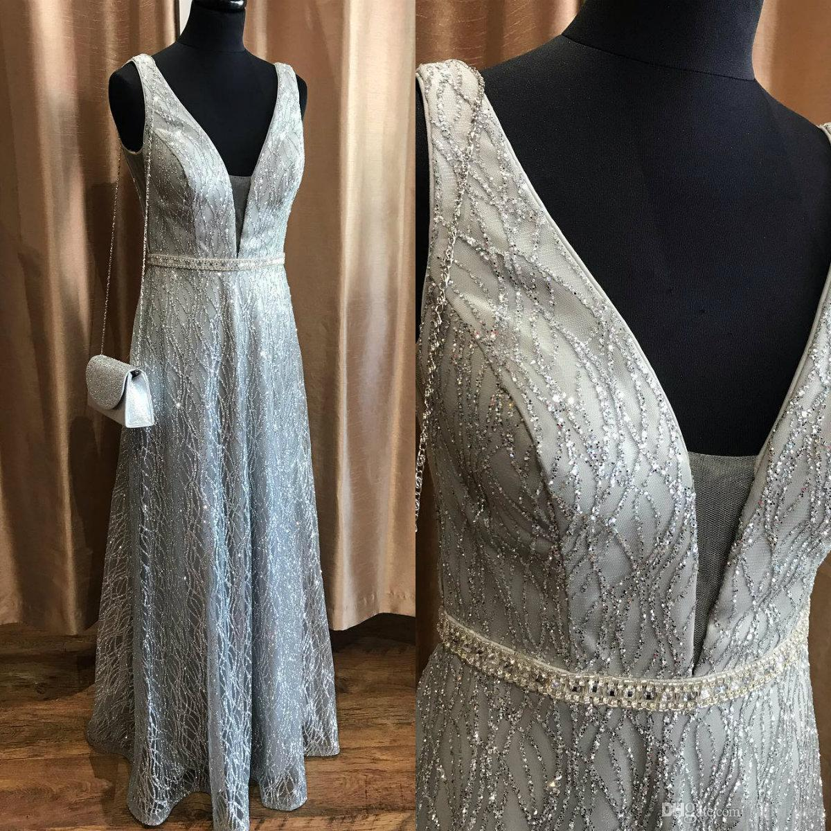Gorgeous Sequined Mother Of The Bride Dresses Sleeveless V Neck Mothers Plus Size Evening Dress vestidos Formal Prom Dresses