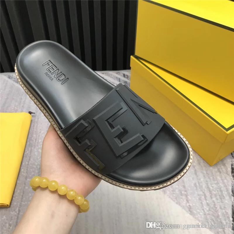 f4181a32 New Brown TPU fussbett sandals Men Slides Luxury designer sandal Black  rubber slides with box Size 39-45