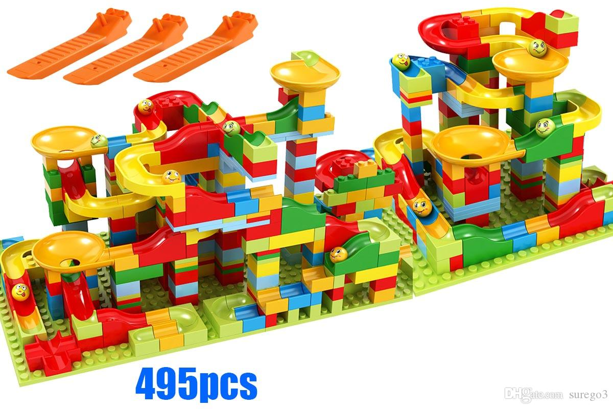 495pcs Small Size Marble Run Set Puzzle Maze Race Track Game Toy Roller Coaster Construction Building Block Brick Toy