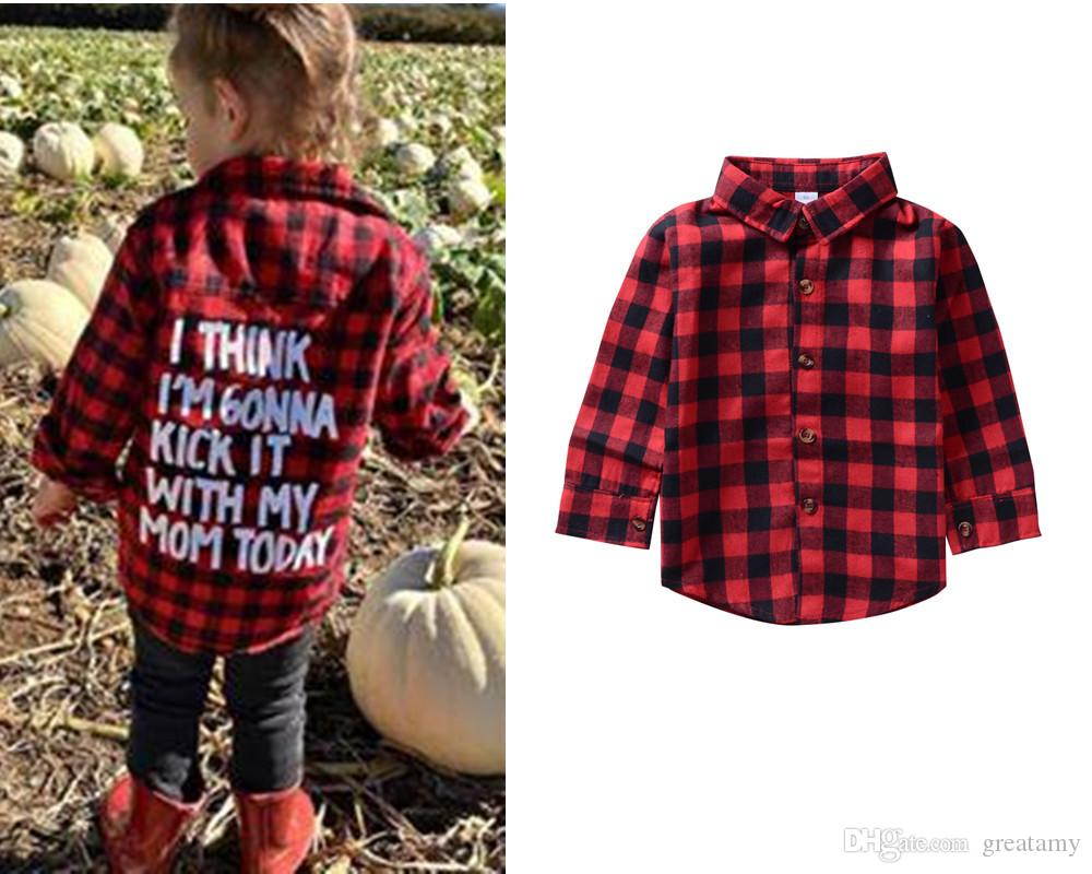 9b26a08e8 Compre Baby Boy Girl Camisa A Cuadros De Manga Larga Rojo Negro Tops Blusa  Ropa Casual Carta Imprimir Fiesta Niños Ropa 2 7T A  6.27 Del Greatamy