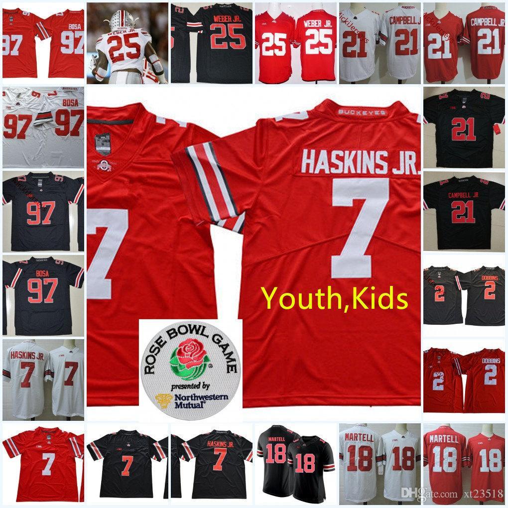 b7eef56e488 2019 YOUTH NCAA Ohio State Buckeyes J.T. Barrett IV Football Jerseys Kids  Parris Campbell JR. J. K. Dobbins Dwayne Haskins Ezekiel Elliott Jersey  From ...