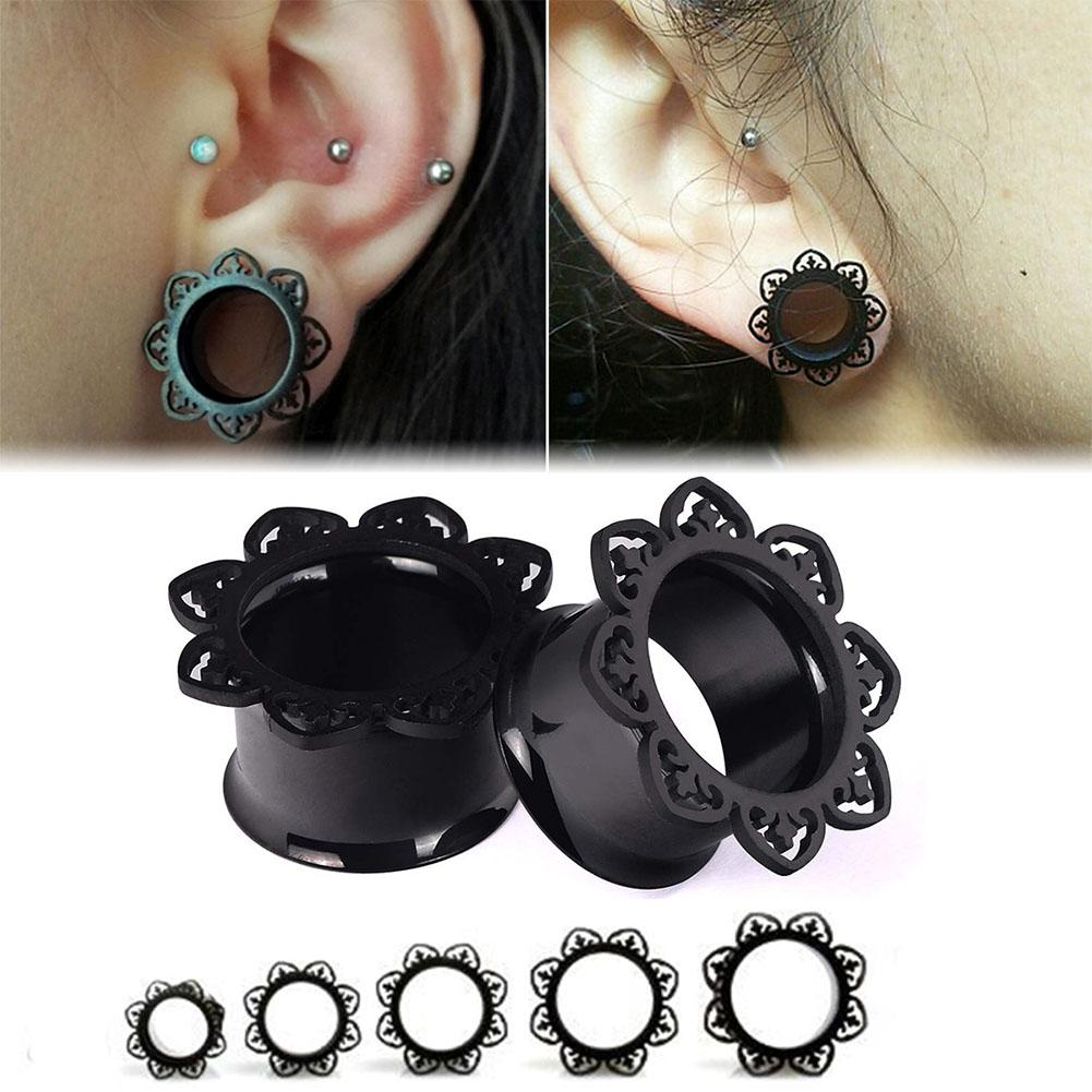 1 PC Ear Plug Punk Style Piercing Body Jewelry Floral Designs Ear Tunnel  Vacuum Cool Plating Single Flared Gauge Elegant