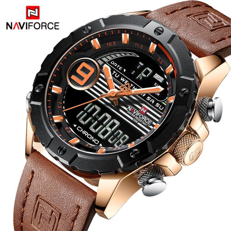3ff593f3eaf Compre Relogio Masculino Top Marca De Luxo NAVIFORCE Homens Esportes  Relógios De Quartzo Dos Homens Relógio Digital Masculino Moda Couro Relógio  À Prova D   ...